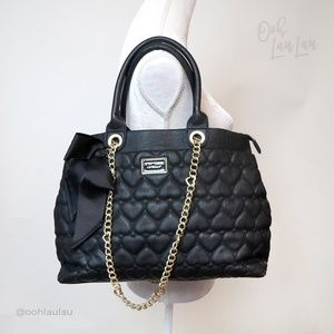 Betsey Johnson Quilted Hearts Black Bag